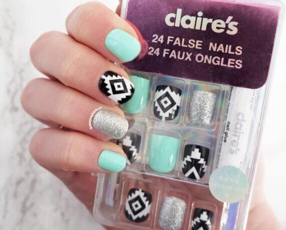 Claire's Mint Aztec Glitter Kunstnagels