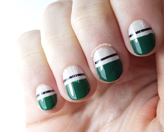 Green Stipe Nail Art