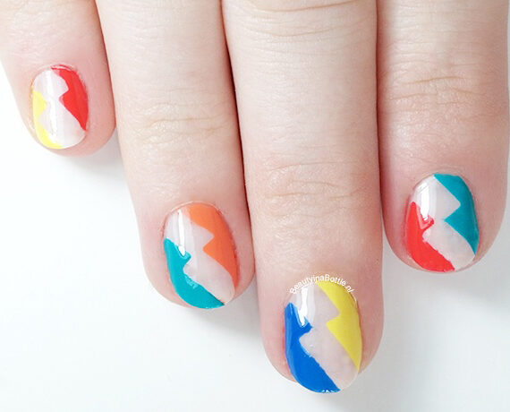 Colorful Lightning Nail Art