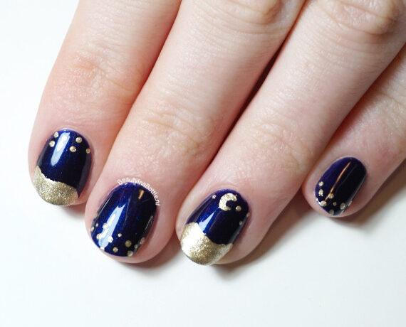 Golden Galaxy Nail Art