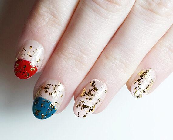 Golden Flakes Nail Art